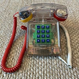 Vintage 1980s Goldstar See Thru Clear Desk Phone